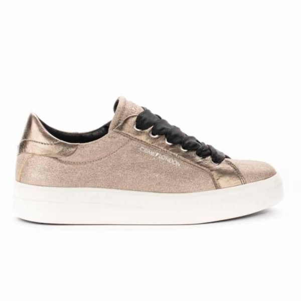 Crime London sneakers converse bassa in pelle platino metallizzata croccata Sonic