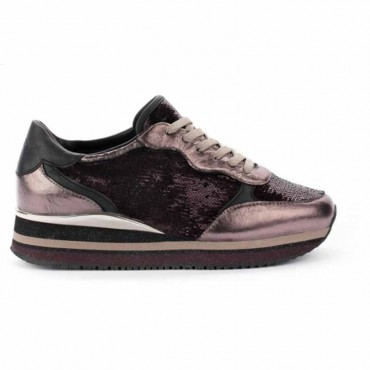 Crime London sneakers runnning in pelle con paillettes Dynamic colore nero