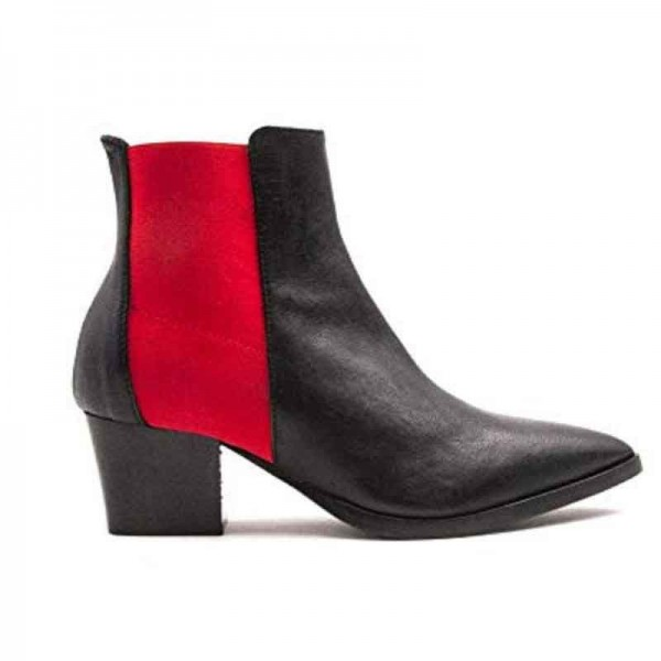 Lemarè tronchetto texanino donna pelle nera con elastico rosso