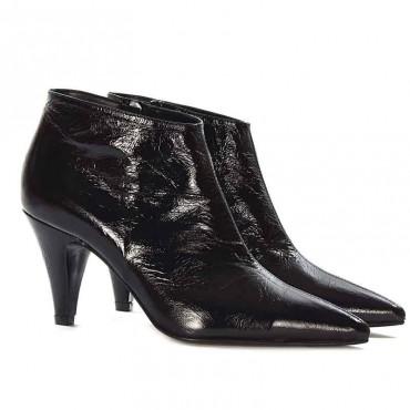 Giampaolo Viozzi tronchetto donna pelle vernice naplack nera arricciata