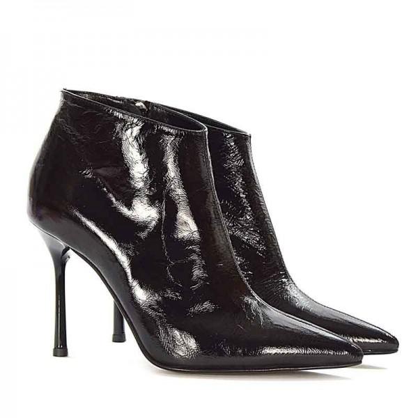 Giampaolo Viozzi tronchetto botino donna pelle vernice naplack nera arricciata