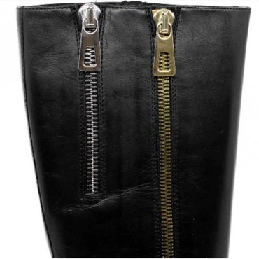 Elvio Zanon stivale cavallerizzo donna inpelle nero con zip decorative