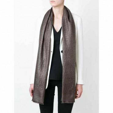Fendi stola donna in seta e lurex jacquard grigio asfalto con doppio logo F new zucca