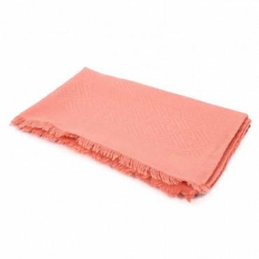 Fendi stola donna in seta e lana jacquard signature colore rosa stork con doppio logo F new zucca