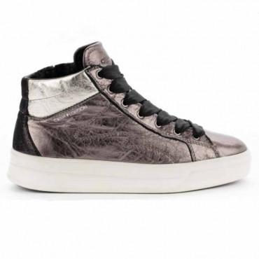 Crime London sneakers converse alta in pelle lati stampa pitone colore nero Java Hi