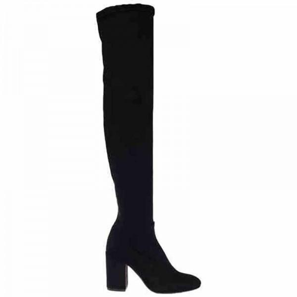 Tiffi stivale donna camoscio ed elasticizzato nero con laccetto alla gamba