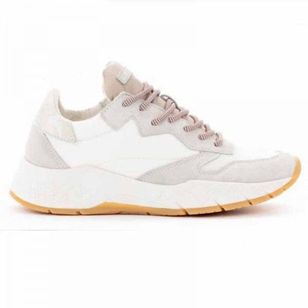 Crime London sneakers runnning in pelle e tessuto Magnetic colore bianco