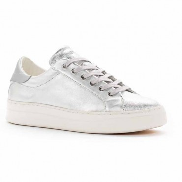 Crime London sneakers converse in pelle metallizzata silver Sonik