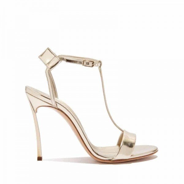 Casadei sandalo donna in pelle effetto metallizzato color platino palladio su tacco metallo Blade