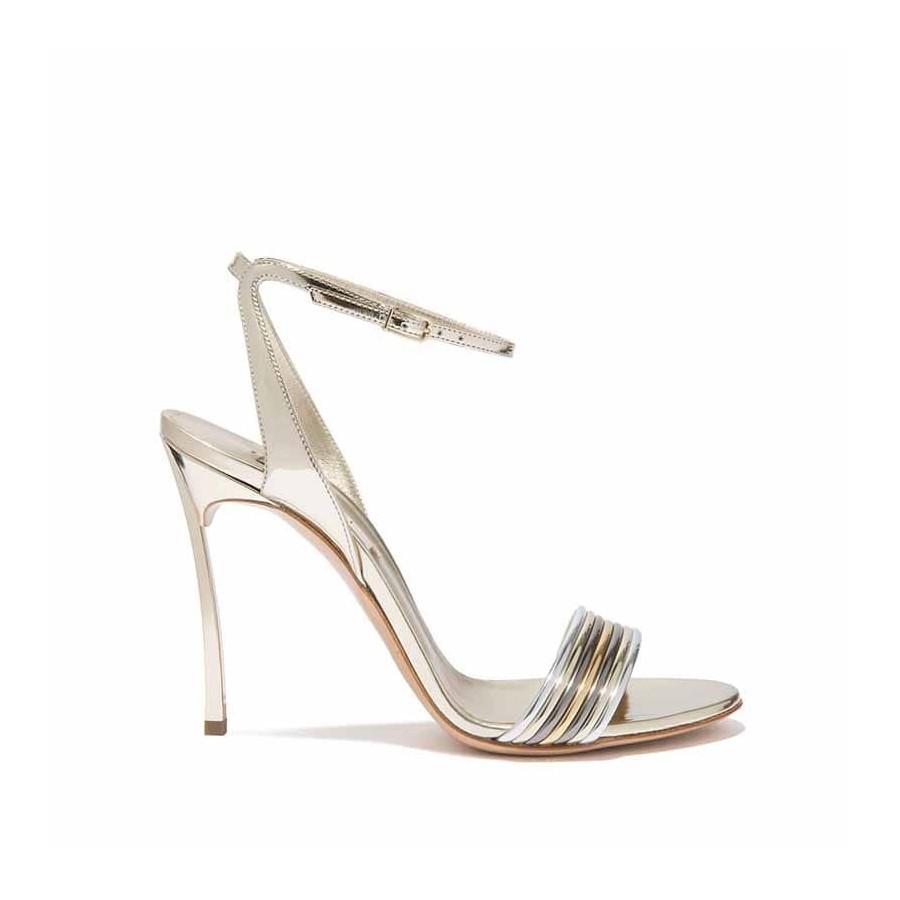 Casadei Pelle Sandalo In Donna Platino Palladio Metallizzata NwmnOv8y0