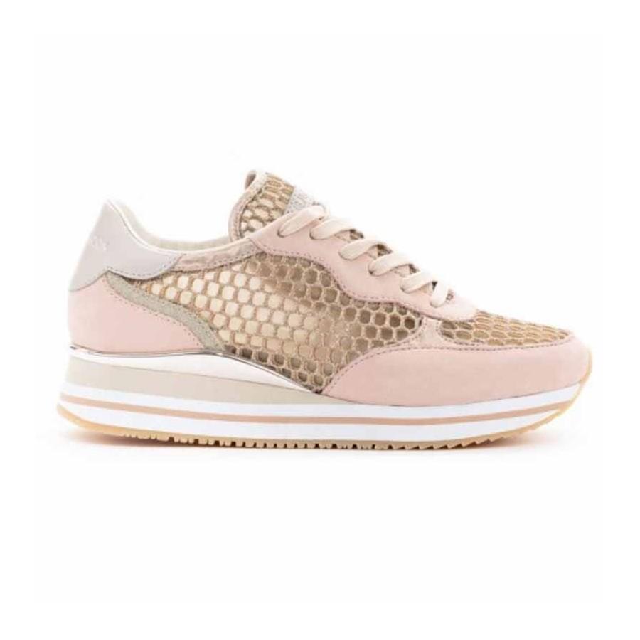Crime London sneakers runnning in pelle camoscio rosa e tessuto rete metallizzata oro Dynamic