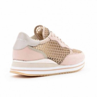 Crime London sneakers runnning in pelle camoscio rosa e tessuto rete metallizzata oro Dynamic