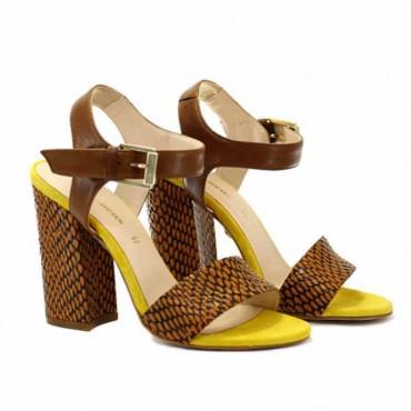 Carmens sandalo donna su tacco in pelle marrone stampa pitone