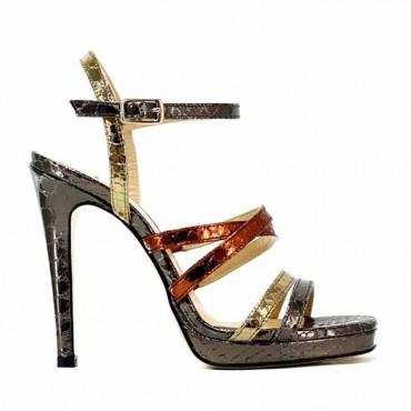 Gianpaolo Viozzi sandalo in pelle su tacco stampa pitone metal multicolor 341a1d5326f