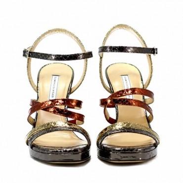 Gianpaolo Viozzi sandalo in pelle su tacco stampa pitone metal multicolor
