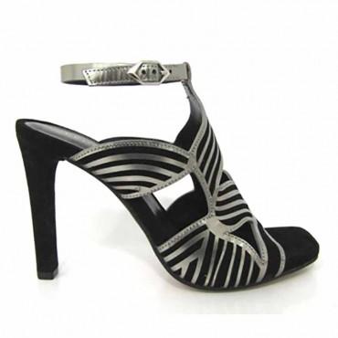 Bruno Premi sandalo su tacco con mini tubolari di pelle acciaio