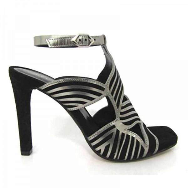 Bruno Premi sandalo su tacco fascie al collo in sovrapposizione di pelle acciaio su camoscio nero allacciato alla caviglia