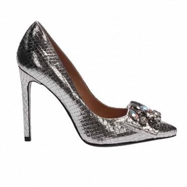 Tiffi sandalo da donna su tacco in pelle laminata argento oro decoro foglie