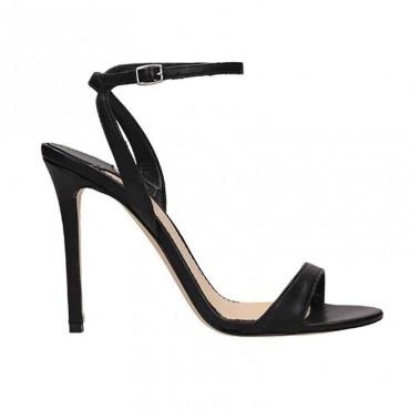 The Seller sandalo da donna su tacco in pelle nappa nero