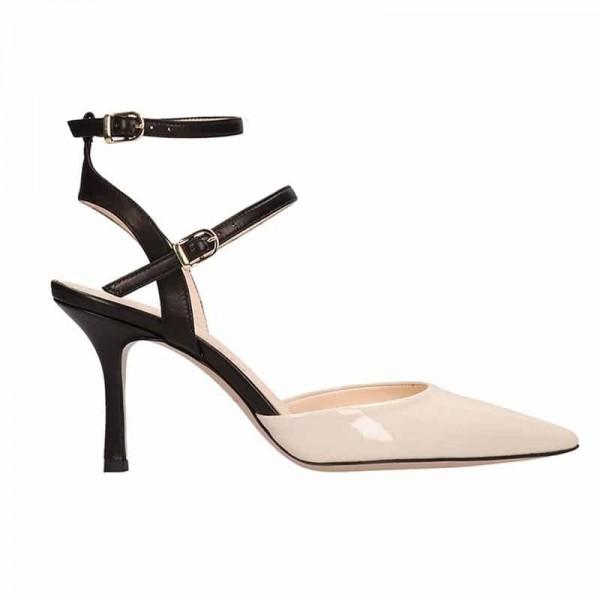 Marc Ellis sandalo donna in pelle colore latte e nero su tacco