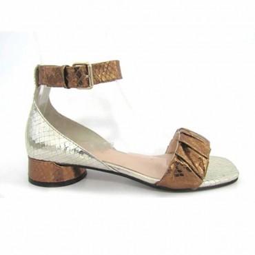 Elvio Zanon sandalo tacco basso stampa pitone multi metallic
