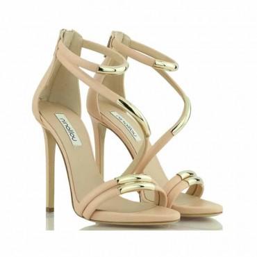 Ninalilou sandalo donna tacco pelle nude particolari metallici oro Micol