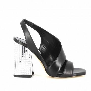 Gianpaolo Viozzi sandalo in pelle su tacco disco pelle nero