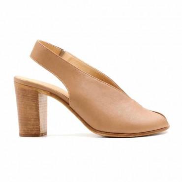 Lemarè sandalo chanel spuntato in pelle micalescente su tacco cuoio