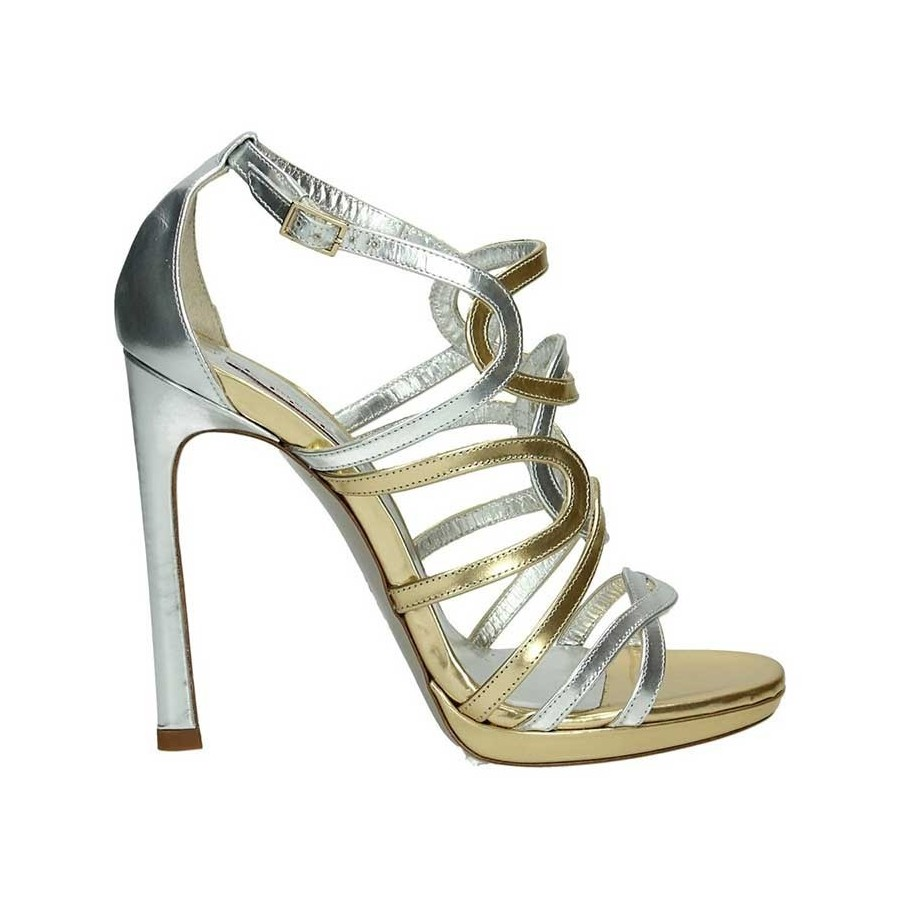 Tiffi Q20     100 Sandale with interwoven Leder in metallic gold and... 52ef46