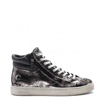 Crime London sneakers converse alta pelle metallizzata canna fucile effetto camouflage