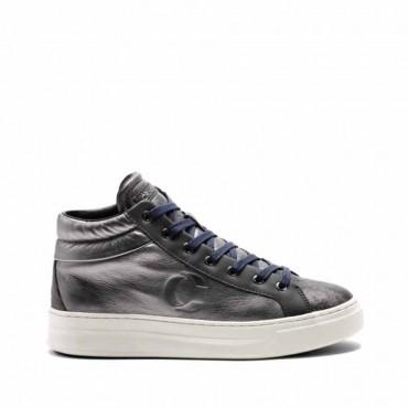 Crime London scarpa donna sneaker converse alta Hoxton pelle cana fucile metallizzata
