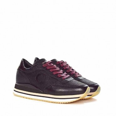 Crime london running sneaker pelle nero puntinato