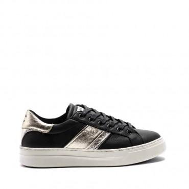 Crime London scarpa donna converse sneaker pelle nera banda metallizzata argento platino Sonik