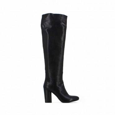 Fiori Francesi stivali donna pelle nera al ginocchio