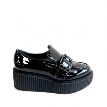 Guido Sgariglia  Sneakers Bardot con Platform Vernice Nera