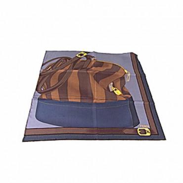 Fendi foulard donna seta stampa two bags blu