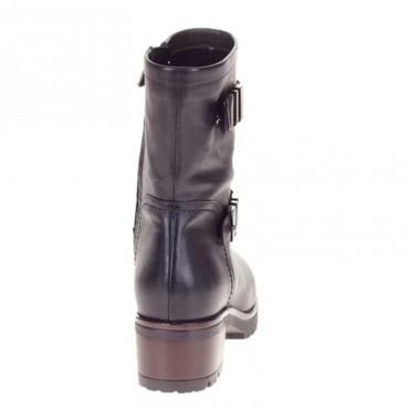 Albano 6238 Tronchetto Biker in vitello nero con cinturino e zip