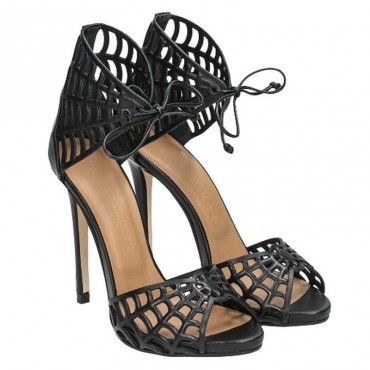 Sandalo donna Marc Ellis vitello traforato nero allacciato alla caviglia scarpa donna