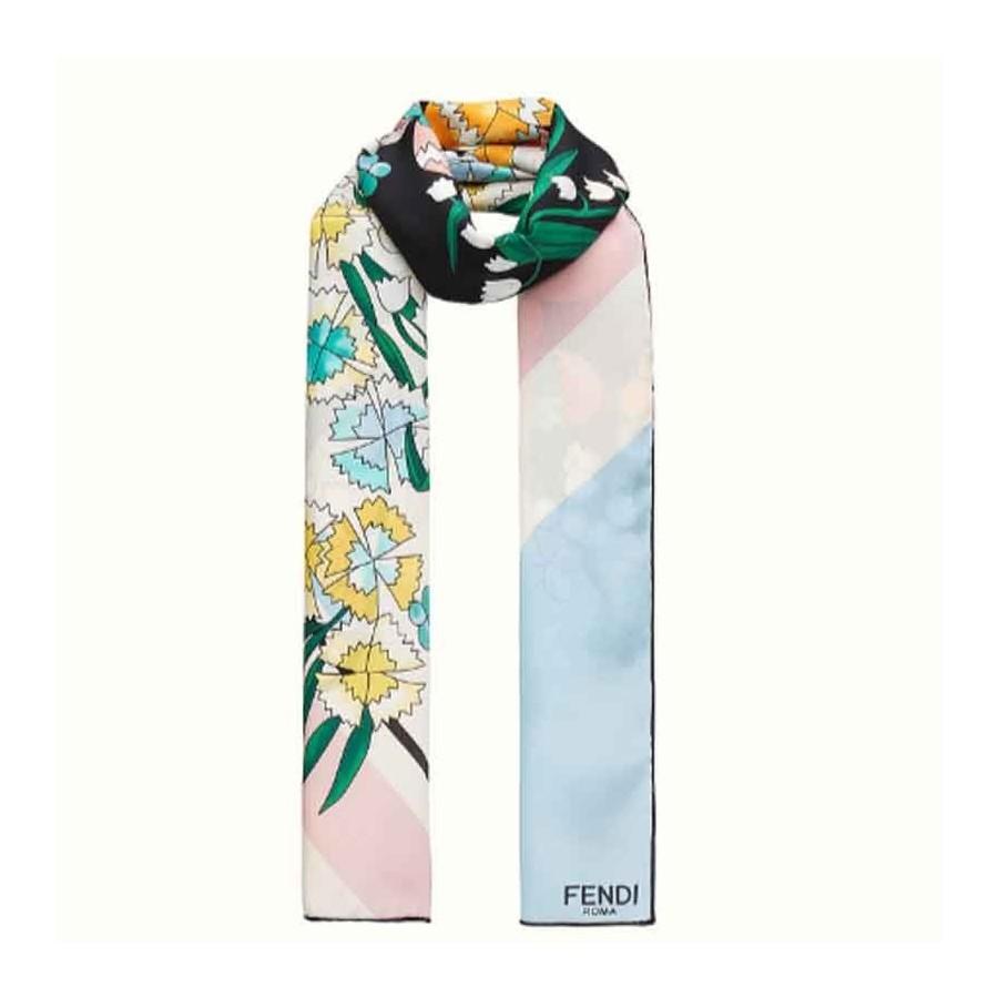 a basso prezzo fe4f7 3dbca Stola donna Fendi seta stampa a fiori sciarpa donna Colore Nero
