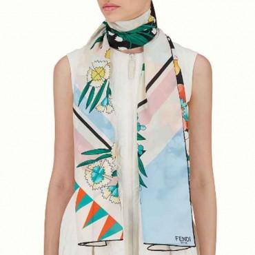Stola donna Fendi seta stampa a fiori sciarpa donna