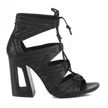 Sandalo donna Vic Matiè sandalo tronchetto traforato camoscio nero