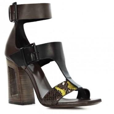 Sandalo donna Vic Matiè sandalo tmoro nero pitone  tacco cavo scarpa donna