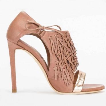 Sandalo donna Ixos pelle cuoio tronchetto sandalo asimmetrico donna