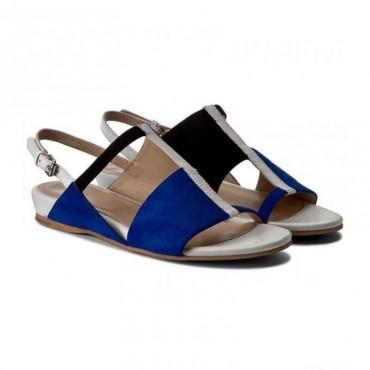 Sandalo donna Bruno Premi flat basso tricolor sandalo asimmetrico donna