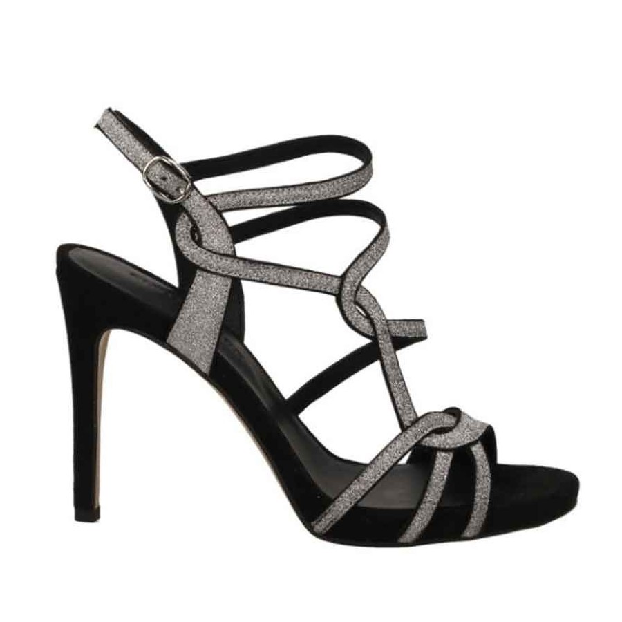 Sandalo donna Zanon tacco nero glitter donna
