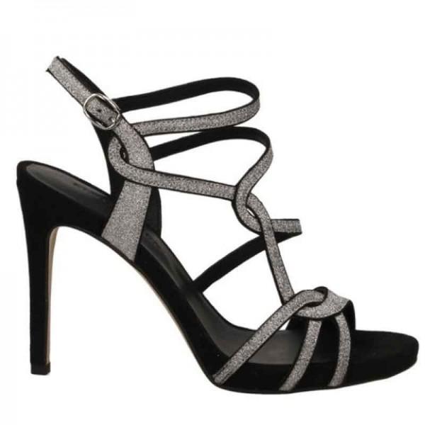 Sandalo donna Elvio Zanon tacco nero glitter donna