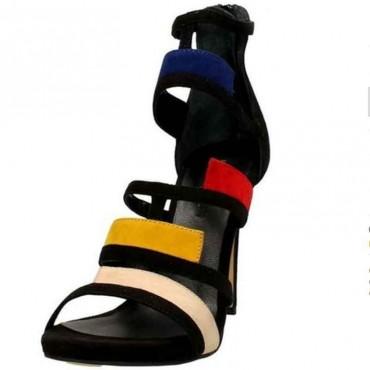 Sandalo donna Elvio Zanon camoscio nero multicolor tronchetto donna