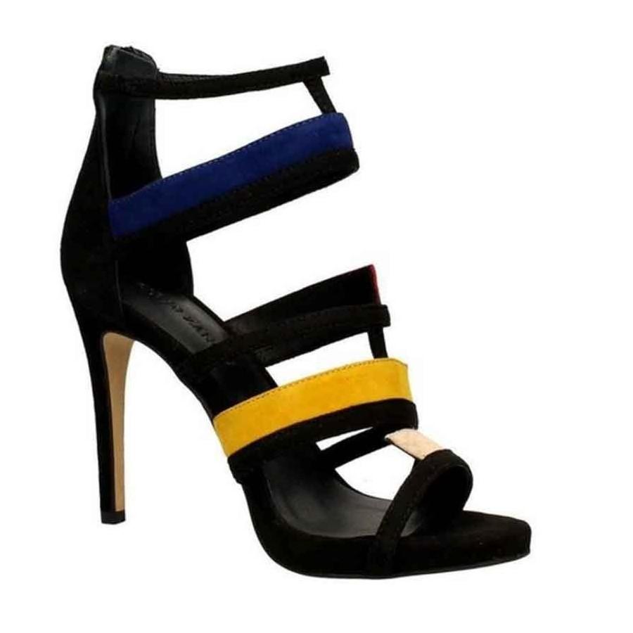 Sandalo donna Elvio Zanon camoscio nero multicolor tronchetto donna 83d5f66350e