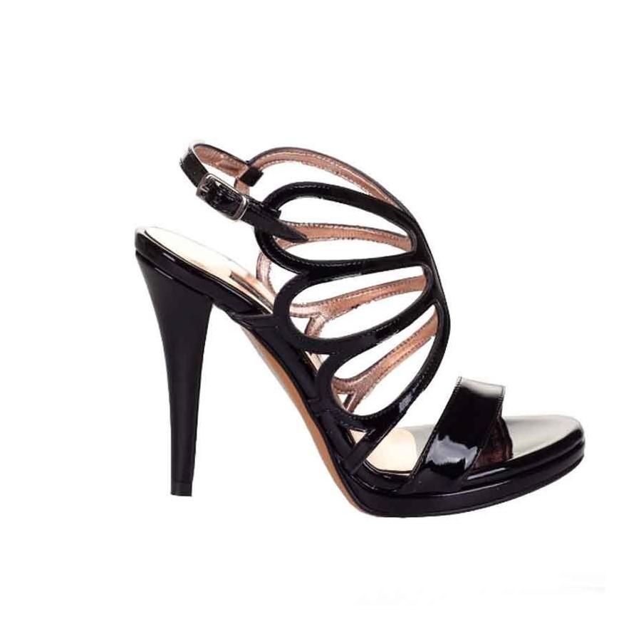 Sandalo donna Albano tacco vernice nero farfalla donna fb54f269812