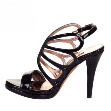 Sandalo donna Albano tacco vernice nero farfalla  donna